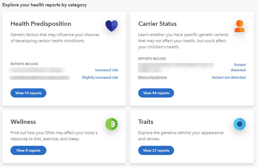 23andMe health reports